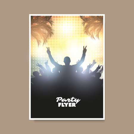 Colorful Party or Festival Poster, Placard, Flyer or Cover Design Template with Crowd Silhouette in the Dark