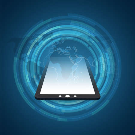 Mobile Computing and Networks Concept with World Map - Abstract Global Digital Connections, Technology Background, Creative Design Element Template