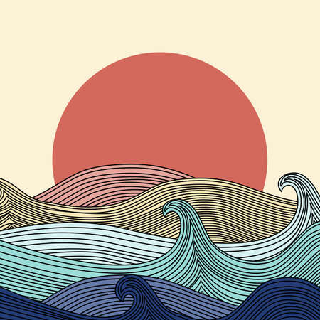Abstract Colorful Artistic Sunset and Sea Waves Concept Creative Design