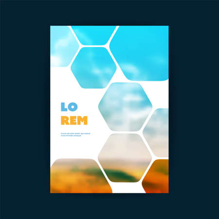 Modern Style Tiled Flyer or Cover Design for Your Business with Blurry Blue Sky View Image - Template Applicable for Reports, Presentations, Placards, Posters, Travel Guides