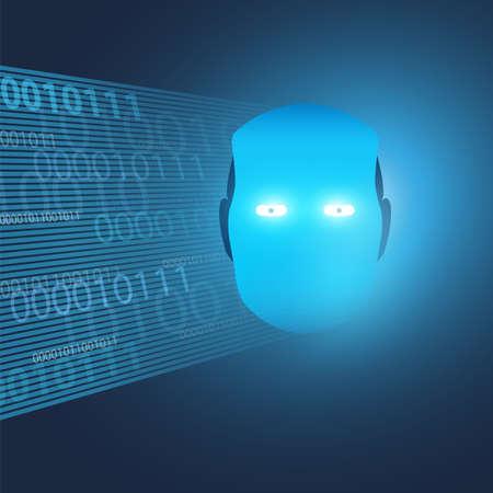 Machine futuriste de style moderne et apprentissage en profondeur, concept de conception d'intelligence artificielle avec fond à motifs de bits de code binaire 3D, globe terrestre et tête de robot