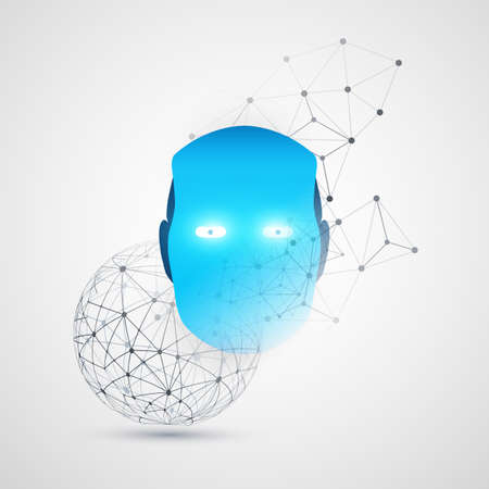 Machine Learning, Artificial Intelligence, Cloud Computing and Networks Design Concept with Transparent Geometric Mesh and Robot Head
