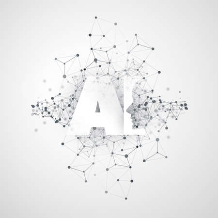 Machine Learning, Artificial Intelligence, Cloud Computing and Networks Design Concept with Geometric Network Mesh and AI Label Illustration