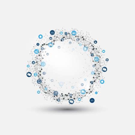 Internet des objets, Cloud Computing Design Concept avec des icônes - Connexions réseau numérique, Contexte technologique