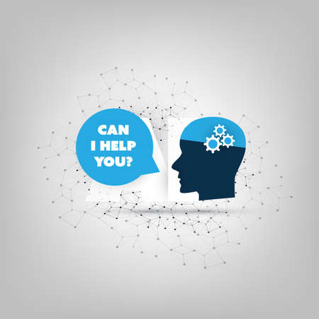 Can I Help You - Global AI Assistance, Automated Support, Digital Aid, Deep Learning and Future Technology Concept Design with Human Head