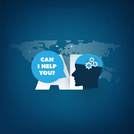 CAN I HELP YOU - Global AI assistance, automated support, digital aid, deep learning and future technology concept design with world map and human head Ilustração