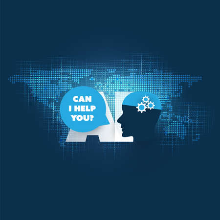 Can I Help You? - Automated Support, Digital Aid, Deep Learning and Smart Technology Concept Design with World Map and Human Head Ilustração