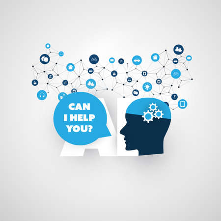 Can I Help You? - Automated Support, Digital Aid, Deep Learning and Smart Technology Concept Design with Human Head