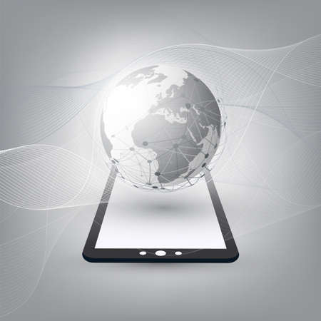 Cloud Computing Design Concept with Earth Globe and Tablet PC - Digital Network Communication, Technology Background
