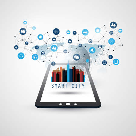 Smart City, Internet of Things Design Concept with Tablet PC Icons - Digital Network Connections, Technology Background