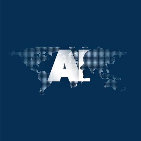 Global AI Assistance, Automated Support, Digital Aid, Deep Learning and Future Technology Concept Design with World Map and Human Head Vettoriali
