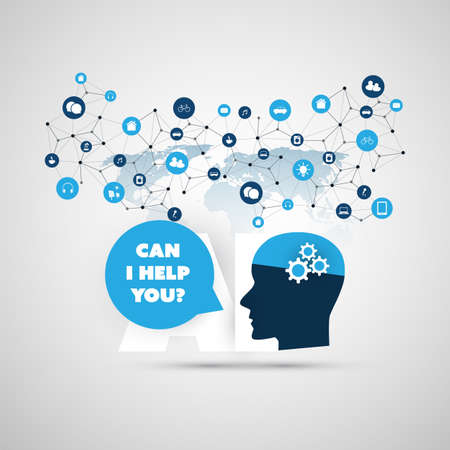 Can I Help You? - Global AI Assistance, Automated Support, Digital Aid, Deep Learning and Future Smart Technology Concept Design with Human Head Ilustração