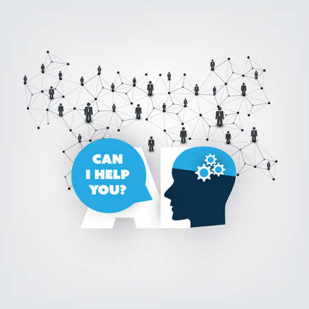 Can I Help You? - Global AI Assistance, Automated Support, Digital Aid, Deep Learning and Future Technology Concept Design with Human Head