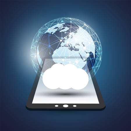 Cloud Computing Design Concept - Digital Network Connections, Technology Background with Earth Globe and Tablet PC Illustration