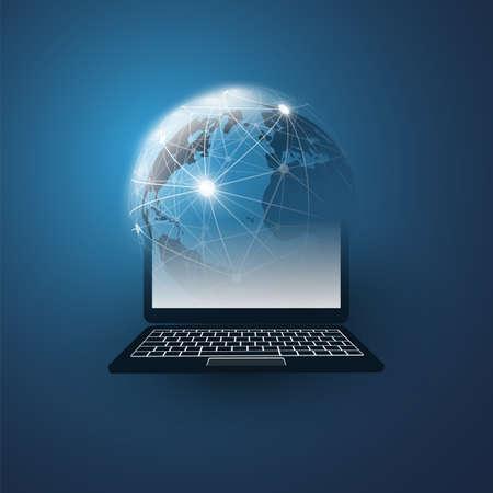 Cloud Computing Design Concept avec Earth Globe et Tablet PC - Connexions réseau numérique, arrière-plan de la technologie Vecteurs