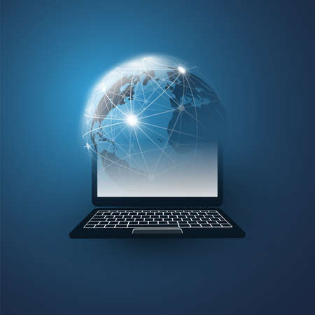 Cloud Computing Design Concept with Earth Globe and Tablet PC - Digital Network Connections, Technology Background Vector Illustration