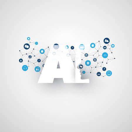 Artificial Intelligence, Internet of Things and Smart Technology Concept Design with AI Logo and Icons Vettoriali