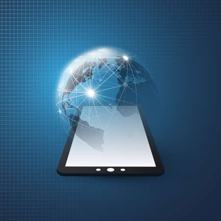 Cloud Computing Design Concept with Earth Globe and Tablet PC - Digital Network Connections, Technology Background