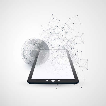 Digital Network Connections, Mobile Technology Background - Cloud Computing Design Concept with Transparent Geometric Mesh, Earth Globe and Tablet PC