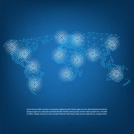 Digital Network Connections, Technology Background - Cloud Computing Design Concept with Mesh and World Map Vector Illustration