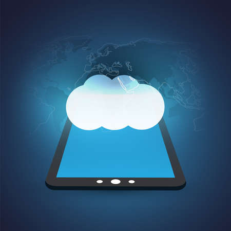 Cloud Computing Design Concept with Tablet and World Map - Digital Network Connections, Technology Background