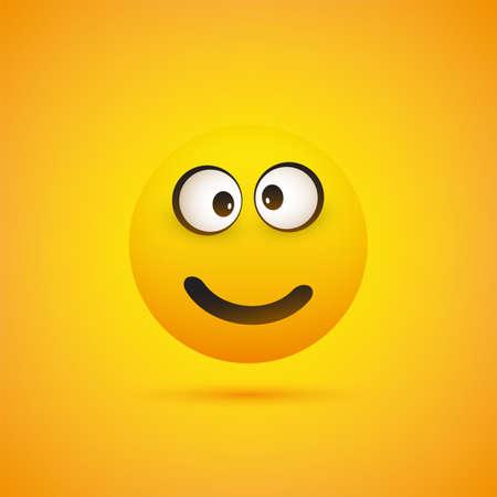 Smiling Emoji - Simple Shiny Happy Emoticon on Yellow Background