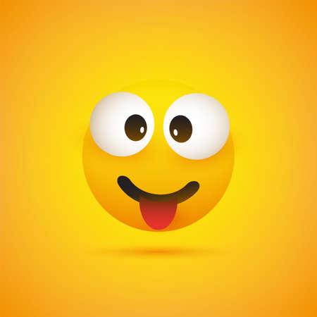 Lächelnder Emoji mit herausgesteckter Zunge - einfaches glänzendes glückliches Emoticon auf gelbem Hintergrund