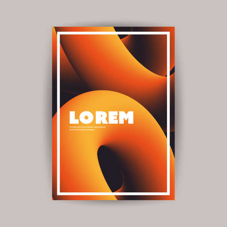 Colorful Flyer or Cover Design for Your Business with Abstract Orange and Black 3D Curve Lines Pattern - Applicable for Reports, Presentations, Placards, Posters - Creative Vector Template