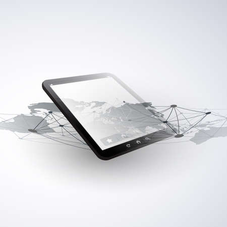 Digital Network Connections, Mobile Technology Background - Cloud Computing Design Concept with Network Mesh and Tablet PC