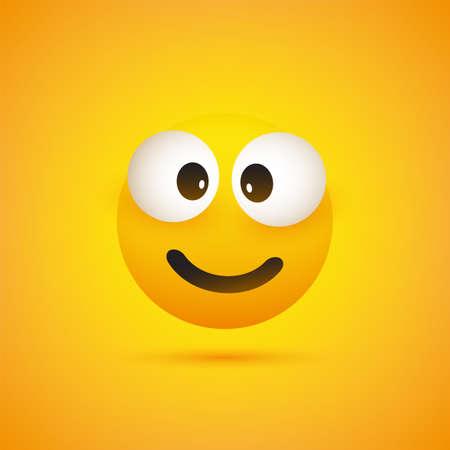 Smiling Emoji - Simple Shiny Happy Emoticon on Yellow Background - Vector Design