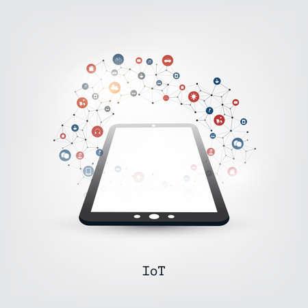 Colorido Internet de las cosas, concepto de diseño de computación en la nube con Tablet PC e iconos: conexiones de red digital, fondo tecnológico