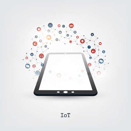 Colorful Internet of Things, Cloud Computing Design Concept with Tablet PC and Icons - Digital Network Connections, Technology Background