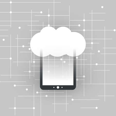 Cloud Computing Design Concept with Tablet PC - Digital Network Connections, Technology Background