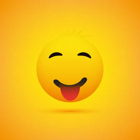Smiling Emoji with Stuck Out Tongue - Simple Shiny Happy Emoticon on Yellow Background