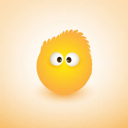 Emoji with Funny Hair - Simple Emoticon on Yellow Background