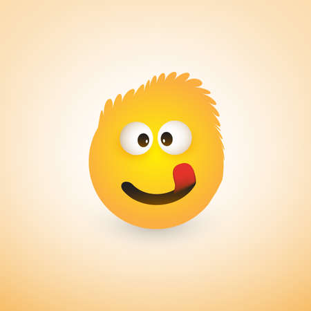Smiling Emoji with Stuck Out Tongue - Simple Shiny Happy Emoticon on Yellow Background  イラスト・ベクター素材