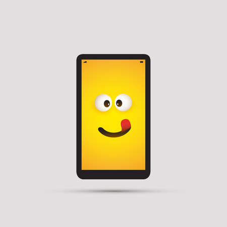 Smiling Smart Phone Emoji - Simple Happy Emoticon with Pop Out Eyes and Red Tongue on Yellow Screen