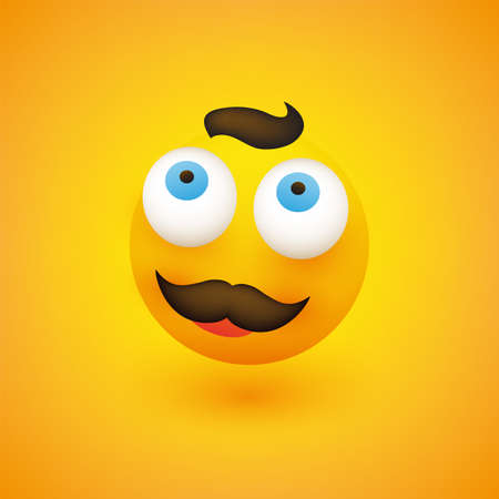 Smiling Emoji - Simple Happy Emoticon with Dreamy Pop Out Eyes and Mustache on Yellow Background