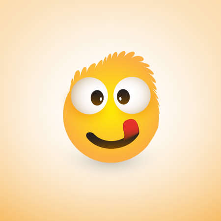 Smiling Emoji with Stuck Out Tongue - Simple Shiny Happy Emoticon on Yellow Background Illustration