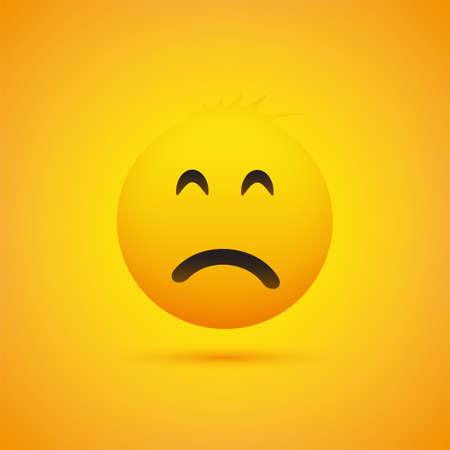 Emoji triste con ojos saltones - Emoticon simple sobre fondo amarillo