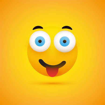 Smiling Emoji Face With Tongue - Simple Happy Emoticon on Yellow Background