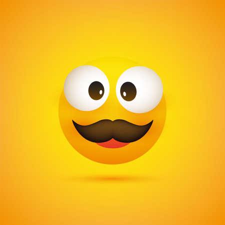 Lächelnder Emoji - Einfaches glückliches Emoticon mit zusammengekniffenen Augen und Schnurrbart auf gelbem Hintergrund - Vektordesign