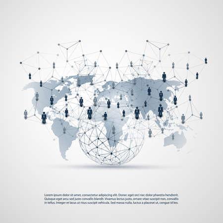 Redes digitales, conexiones comerciales globales: diseño de concepto de redes sociales con globo y mapa del mundo