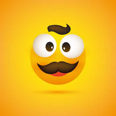 Lächelnder Emoji - Einfaches glückliches Emoticon mit zusammengekniffenen Augen und Schnurrbart auf gelbem Hintergrund