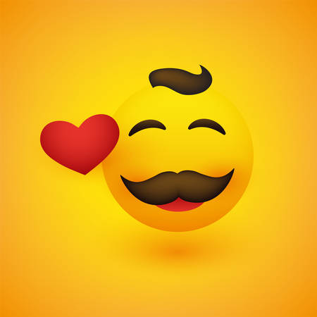 Smiling Face With Red Heart and Mustache on Yellow Background