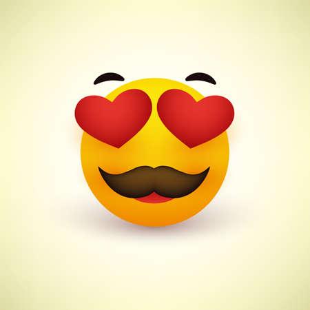 Cara sonriente con ojos en forma de corazón y bigote sobre fondo amarillo