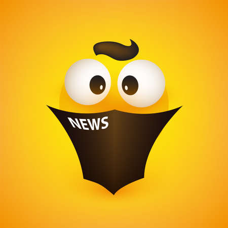 Surprising News - Emoji with Pop Out Eyes Reads a Newspaper - Simple Emoticon on Yellow Background