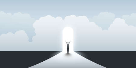 New Possibilities, Hope, Dreams - Business, Solutions Finding Concept - Businessman Standing in Front of a Door, Light at the End of the Road