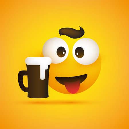 Lächelnder Emoji, einfaches lächelndes glückliches Emoticon mit zusammengekniffenen Augen, Zunge und einem Glas Bier auf gelbem Hintergrund - Vektordesign