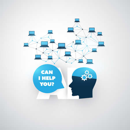 Can I Help You? - Artificial Intelligence, Automated Support, Digital Communication, Deep Learning and Future Smart Technology Concept Design with Human Head